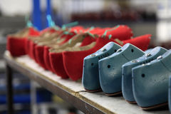 Production line in a footwear factory stock images