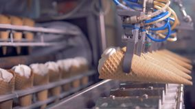 Production line of ice-cream. Ice cream factory. Production transference line of ice-cream wafer horn on a factory. 4K stock footage