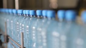 The production line of mineral water and carbonated drinks stock video