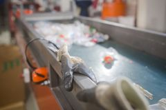 Production line for the processing of plastic waste in the factory royalty free stock image