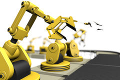 Production in line with robot arms Royalty Free Stock Photography