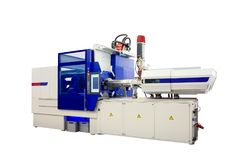 Production machine for manufacture products from pvc plastic extrusion technology.  Stock Photography