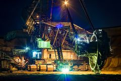 Bucket wheel excavator in the night Royalty Free Stock Image