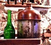 Production of moonshine. Manufacturer of home moonshine,vintage photo royalty free stock photo