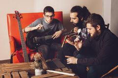 Production with musicians composing Royalty Free Stock Photography