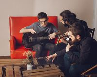 Production with musicians composing Stock Photography