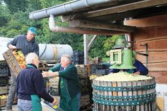 Production Of Apple Juice In Steinsel. Luxembourg Royalty Free Stock Images