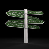 Production office organisation. 3d isolated on black Stock Photo