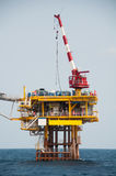 Production platform in offshore oil and gas industry. The platform with blue sky Royalty Free Stock Image