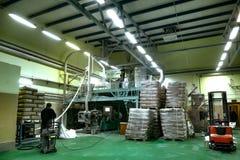 Production of potato starch. The production of potato starch stock photo
