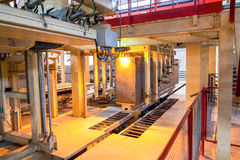 Production process of aerated concrete blocks Stock Image