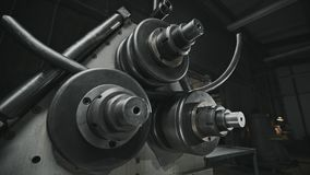 Production process cold bending metal pipe on modern metalworking machine. With remote system control in manufacturing hall at metallurgical plant stock video footage