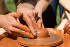 Production process on the potter's wheel Stock Image