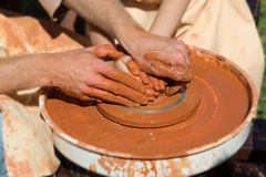 Production process on the potter's wheel Stock Photography