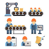 Production Process Vector Illustration. Production process , installation of engineering equipment of industrial production machine operators icons flat line vector illustration