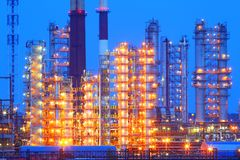 Oil refinery at night. Industrial equipment. Stock Photography