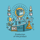 Production of Product Icon Flat Design Concept Royalty Free Stock Images