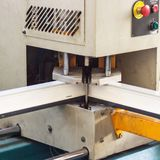 Production of pvc windows, gluing of plastic corners of windows, machine for the production of pvc windows, profile royalty free stock images