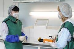 Production of radioactive iodine. City Gomel, Belarus.01.Junya.2017year.Gomel medical hospital. Nurses prepare radioactive iodine for the treatment of thyroid royalty free stock photography