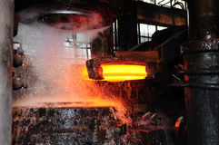 Production of railroad wheels. Battle between fire and water. Production of railroad wheels. Ukrainian metallurgical works Stock Images