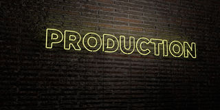 PRODUCTION -Realistic Neon Sign on Brick Wall background - 3D rendered royalty free stock image. Can be used for online banner ads and direct mailers Vector Illustration
