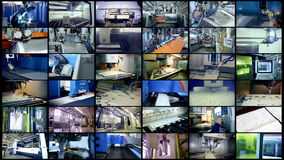 Production robots working at a modern factory. Split screen, multiscreen background.