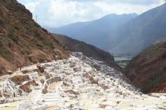 Production of salt. Small lake , built man with salt water -Peru Royalty Free Stock Photos