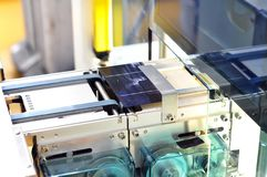 production of solar cells - conveyor belt in production with wafer modules for assembly royalty free stock image