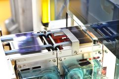 production of solar cells - conveyor belt in production with wafer modules for assembly stock photos