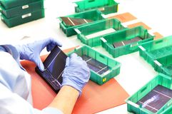 Production of solar cells - wafer modules for final assembly - w stock photo