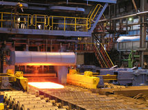Production of the steel sheet. Royalty Free Stock Photo