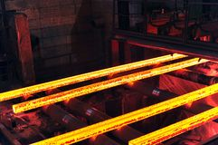 Production of steel in a steel mill - production in heavy industry royalty free stock images