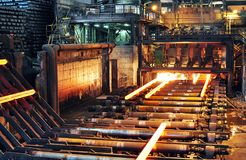 Production of steel in a steel mill - production in heavy indust. Ry Stock Photos