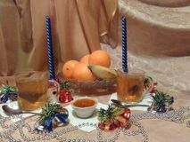 Production of still life in the run up to Christmas stock images