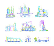 Production, storage of oil transportation drawings Royalty Free Stock Photo