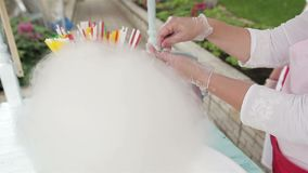 Making of Cotton Candy. Production of sugar cotton candy close up stock footage