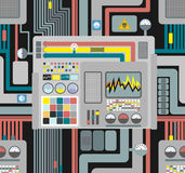 Production system. Control Panel seamless pattern. Background of. Wires and sensors and devices. Vector illustration of high-tech production. Industrial Stock Photo