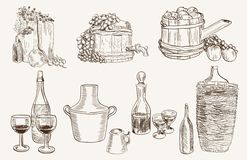 Production and tasting homemade wine Royalty Free Stock Image