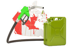 Production and trade of petrol in Canada, concept. 3D rendering. On white background Royalty Free Stock Photography