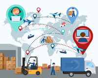 Production, transportation, delivery of cargo. Map. Vector illus Stock Photography