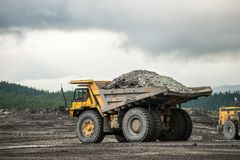 Production useful minerals. the dump truck Stock Photo