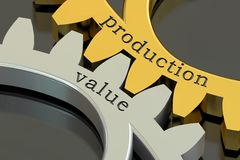 Production Value concept on the gearwheels, 3D rendering Stock Photography