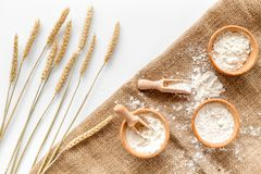 Production of wheat and rye flour from ear on white desk background top view Royalty Free Stock Image