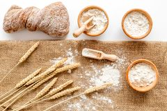 Production of wheat and rye flour from ear on white desk background top view Stock Photo