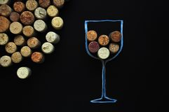 Many rubber wine corks background stock photos