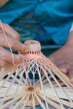 Production of wooden umbrella frame. Hand of an elderly woman making the wooden frame for a traditional Thai umbrella in the umbrella village Bo Sang, Chiang Mai Royalty Free Stock Images