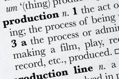 Production word dictionary def Stock Images
