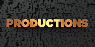 Productions - Gold text on black background - 3D rendered royalty free stock picture Royalty Free Stock Image
