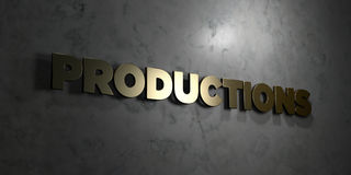 Productions - Gold text on black background - 3D rendered royalty free stock picture Royalty Free Stock Photos