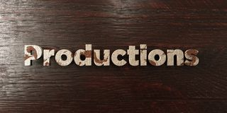 Productions - grungy wooden headline on Maple  - 3D rendered royalty free stock image Stock Photos
